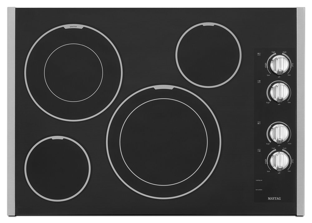 30-inch Wide Electric Cooktop with Two Dual-Choice Elements  Stainless Steel