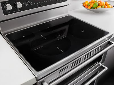 hidden additional 30inch 5 burner electric double oven convection range stainless steel