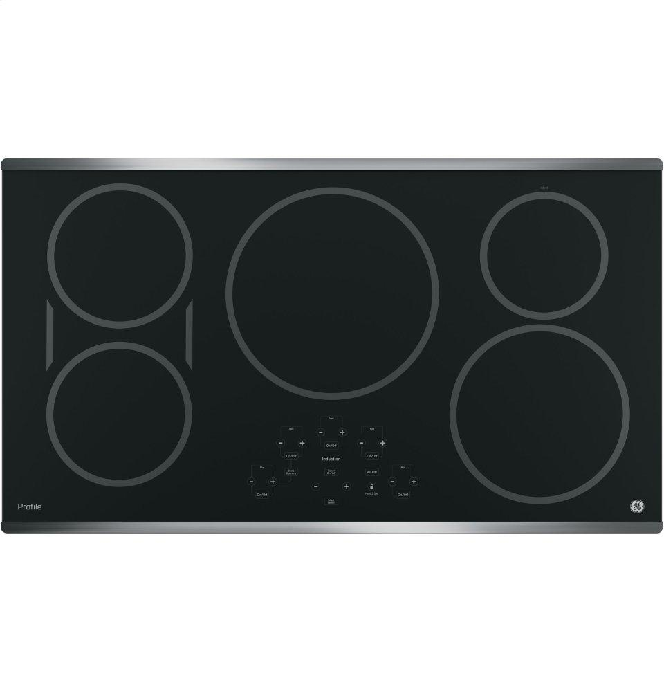 """GE Profile(TM) Series 36"""" Built-In Touch Control Induction Cooktop  Stainless Steel on Black"""