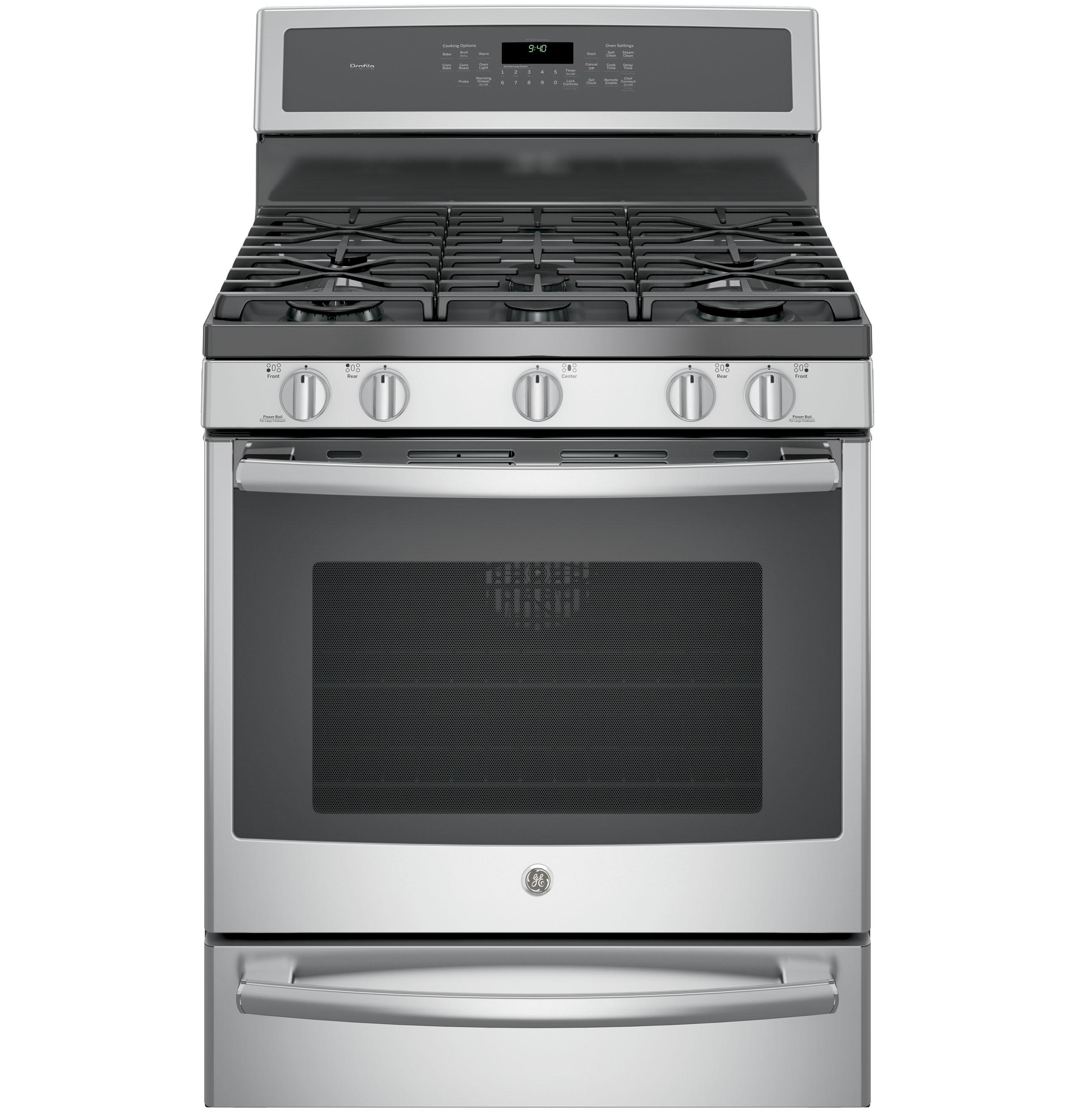 "GE Profile(TM) Series 30"" Free-Standing Gas Convection Range with Warming Drawer