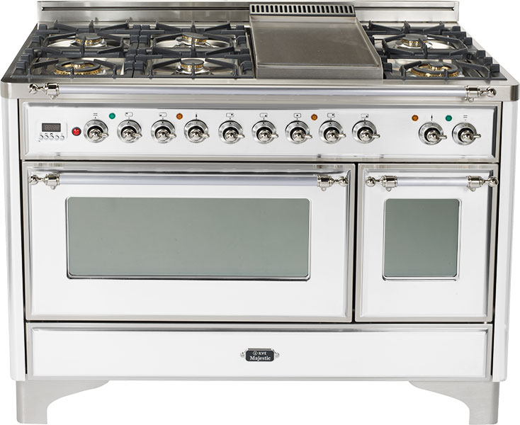 True White with Chrome trim - Majestic 48-inch Range with Griddle  True White / Chrome