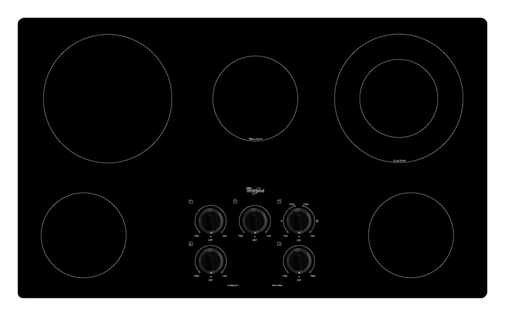 36 in. Electric Cooktop with Warm Zone element  Black