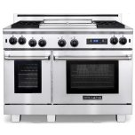 American RangeAmerican Range 48&quot Medallion Range 22&quot gas griddle 18&quot gas Innovection oven with gas Inconel infrared broiler and electric self-clean oven with infrared broiler Liquid Propane