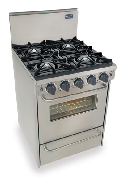 "24"" All Gas Convection Range, Open Burners, Stainless Steel
