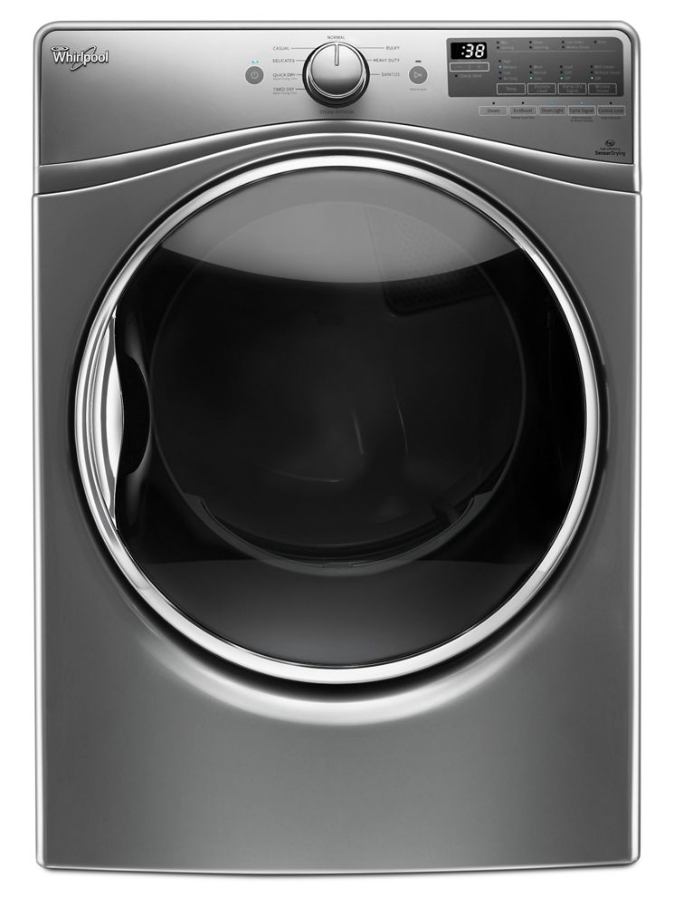 7.4 cu.ft Front Load Gas Dryer with Advanced Moisture Sensing, Steam Refresh  Chrome Shadow