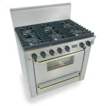 Five StarFive Star 36&quot Six Burner All Gas Range, Sealed Burners, Stainless Steel with Brass