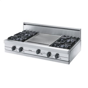 "Stainless Steel 42"" Open Burner Rangetop - Vgrt (42"" Wide, Four Burners 18"" Wide Griddle/simmer Plate)"