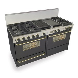 """Five Star 60"""" Dual Fuel, Convect, Self Clean, Sealed Burners, Black With Brass"""