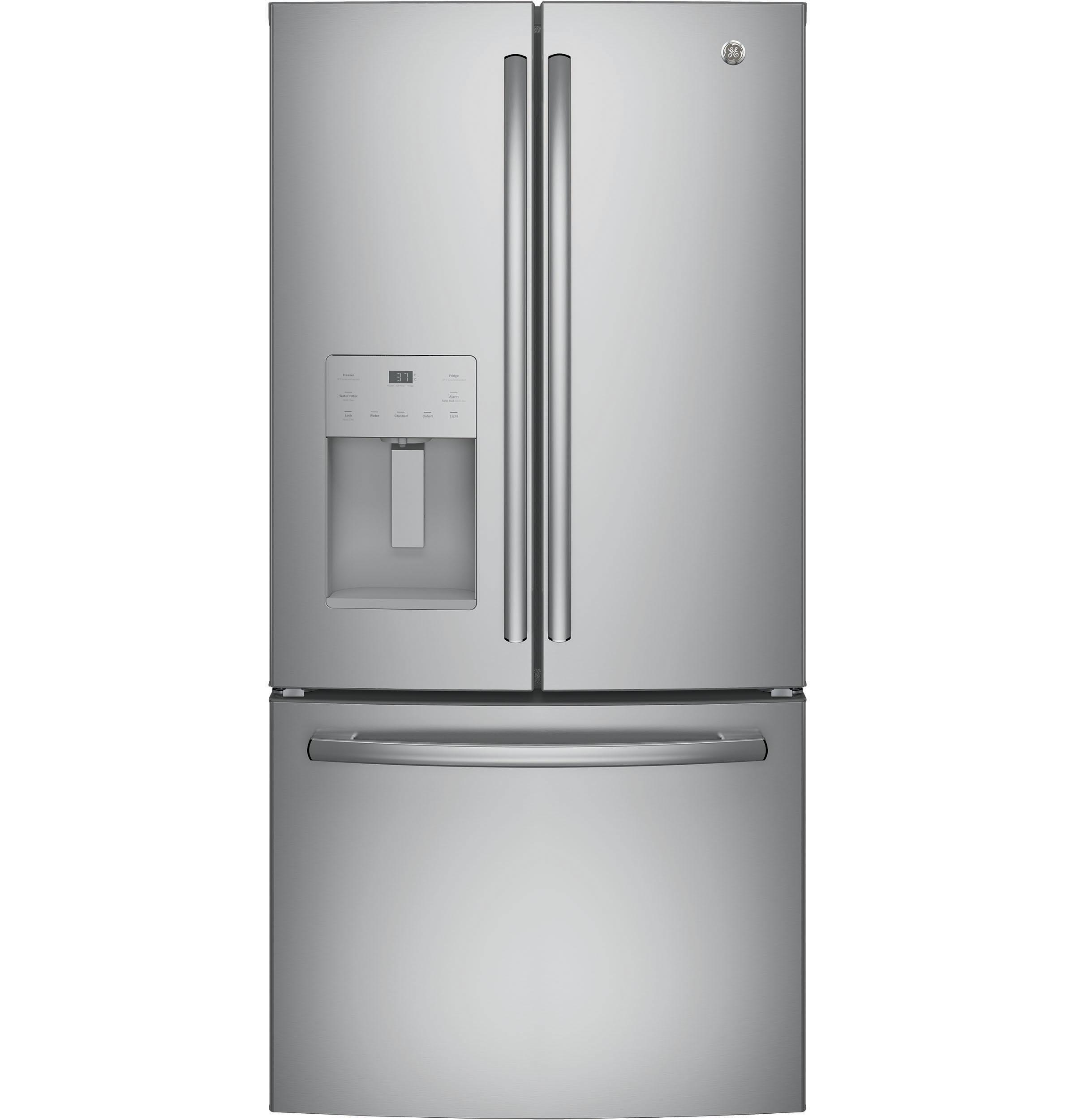 GE(R) ENERGY STAR(R) 17.5 Cu. Ft. Counter-Depth French-Door Refrigerator  Stainless Steel
