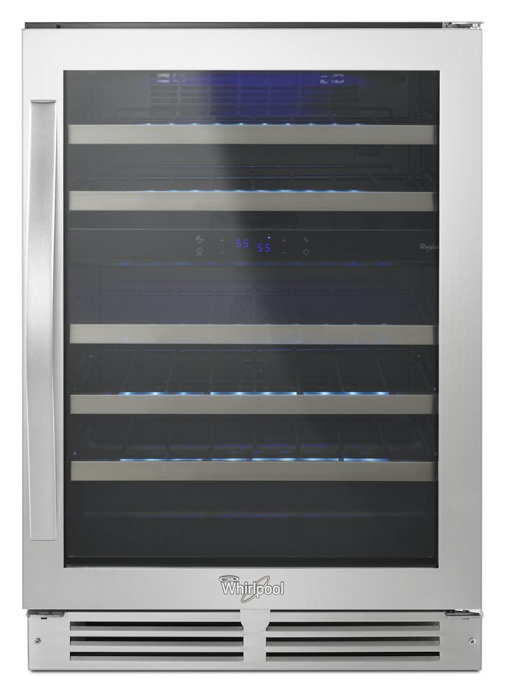 """24"""" Undercounter Wine Center with Dual-Temperature Control  Black-on-Stainless"""