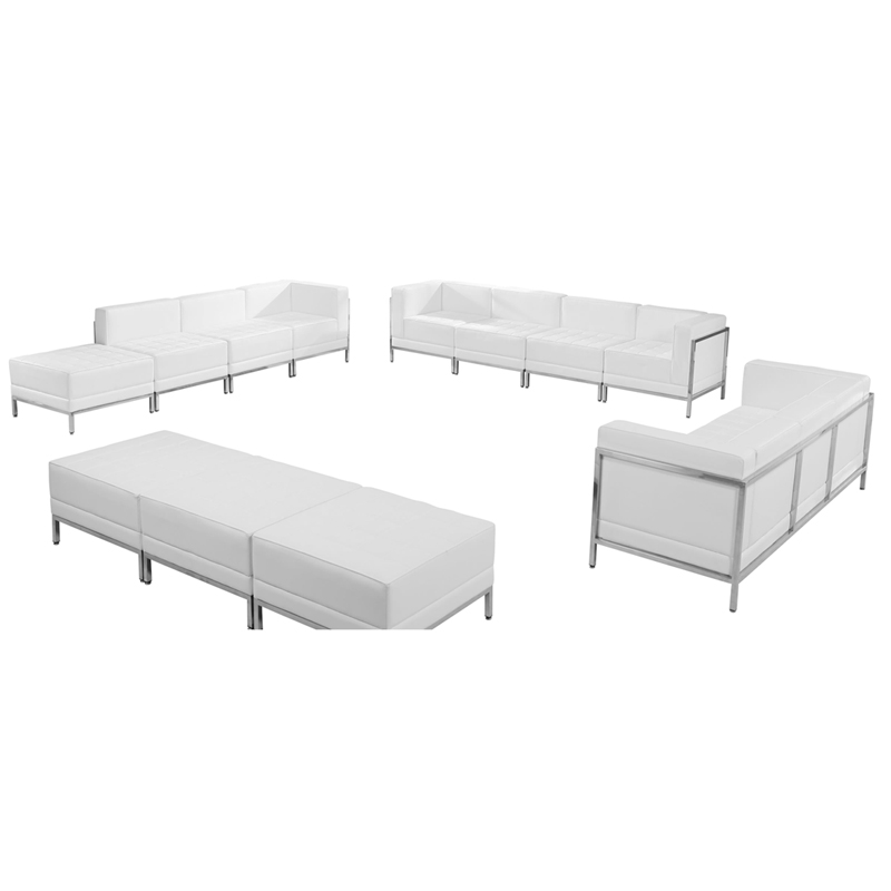 HERCULES Imagination Series Melrose White Leather Sofa,Lounge & Ottoman Set,12 Pieces