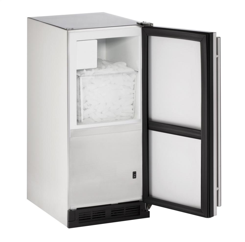 "Outdoor Series 15"" Outdoor Crescent Ice Maker With Stainless Solid Finish and Field Reversible Door Swing