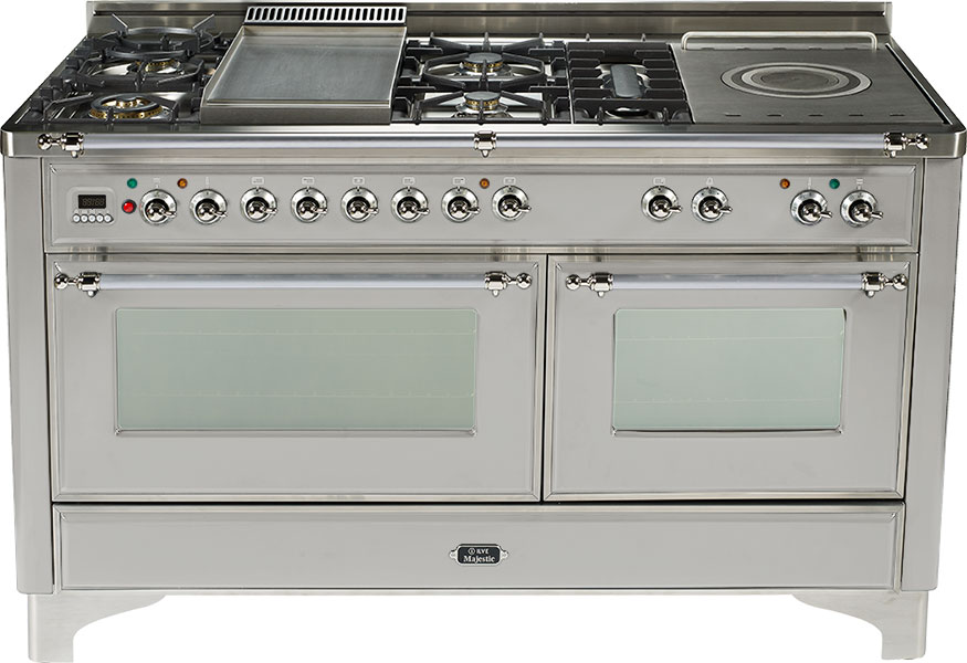 Stainless Steel with Chrome trim - Majestic 60-inch Range with Griddle + French Cooktop  Stainless Steel / Chrome
