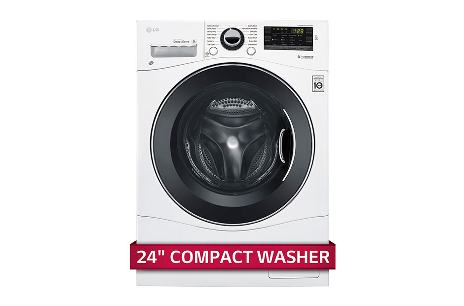 """2.3 cu. ft. Capacity 24"""" Compact Front Load Washer w/ NFC Tag On  White"""
