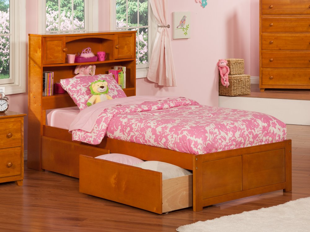 Newport Twin Flat Panel Foot Board with 2 Urban Bed Drawers Caramel Latte