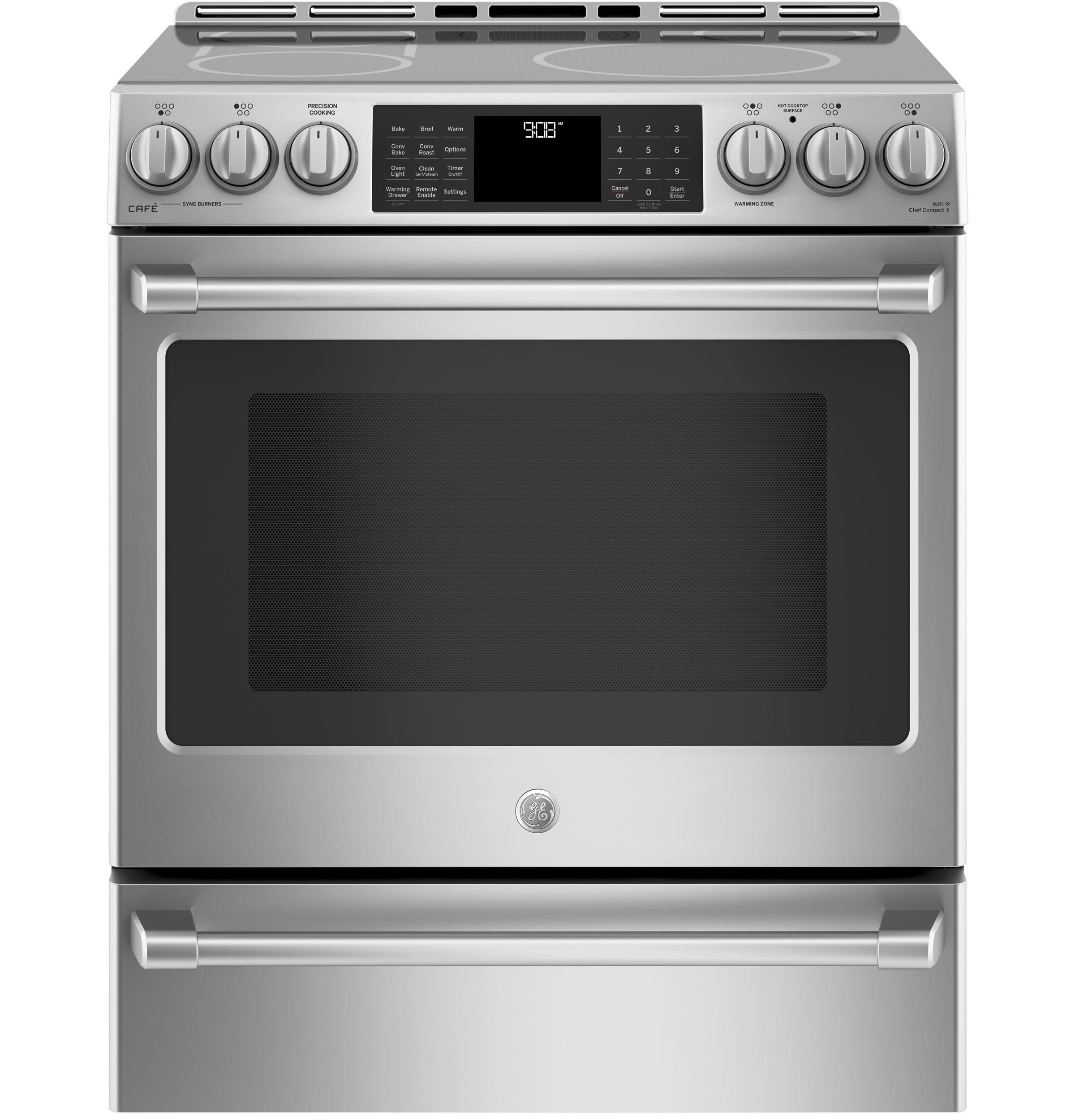 "GE Cafe Series 30"" Slide-In Front Control Induction and Convection Range with Warming Drawer