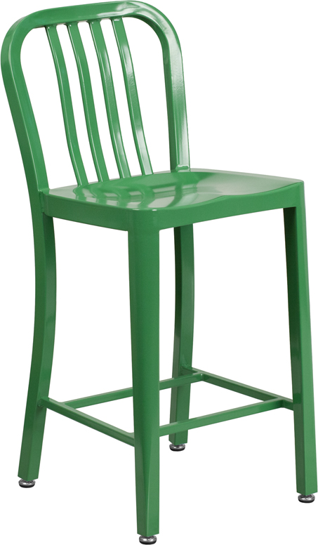 24'' High Green Metal Indoor-Outdoor Counter Height Stool with Vertical Slat Back