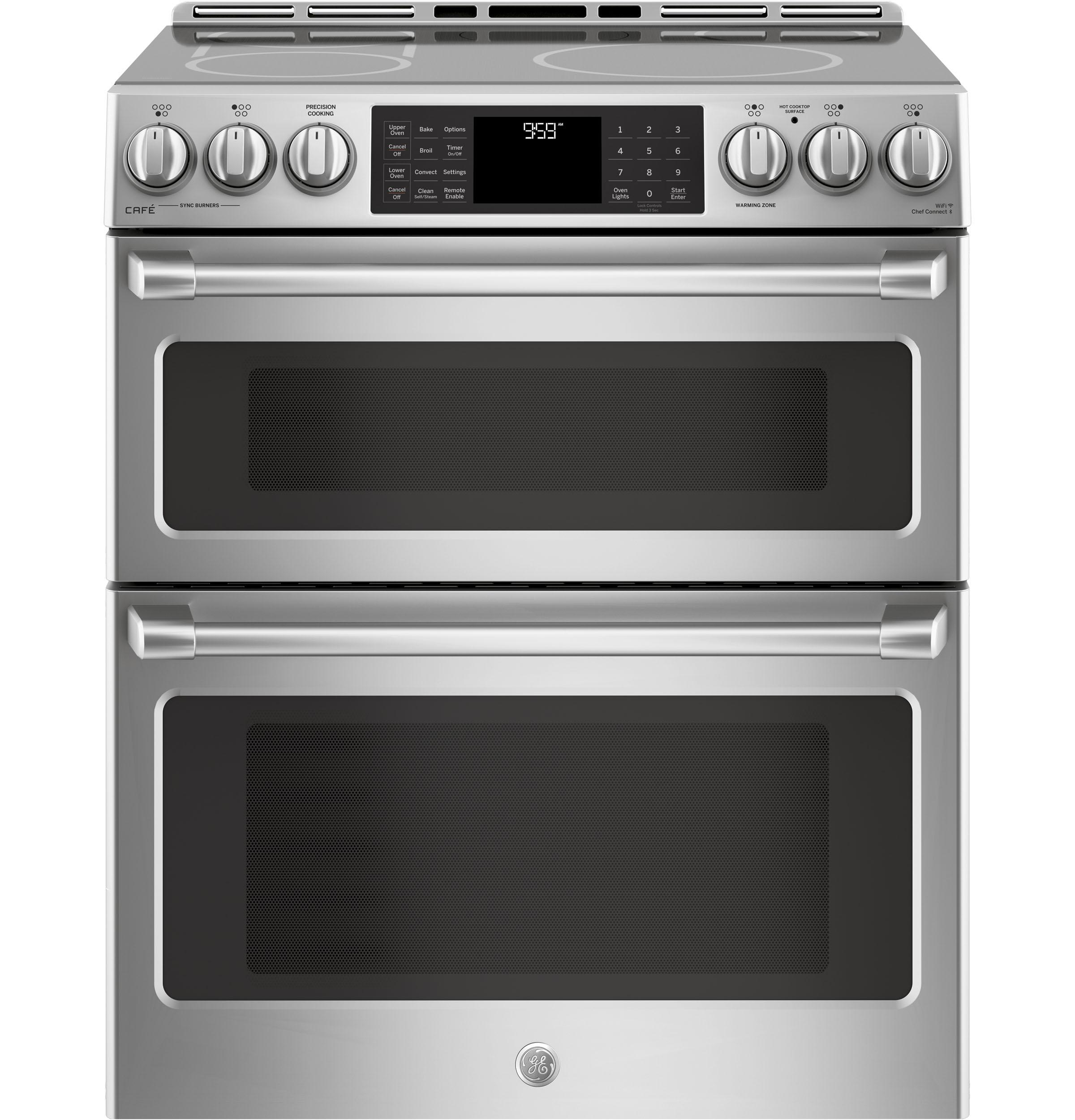 "GE Cafe(TM) Series 30"" Slide-In Front Control Induction and Convection Double Oven Range