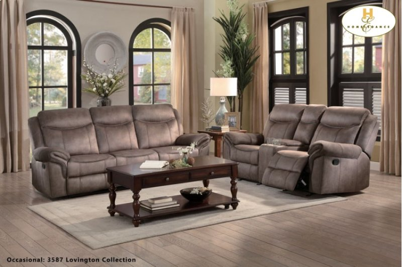 Double Reclining Sofa With Center Drop Down Cup Holders Receptacles And Hidden Drawer
