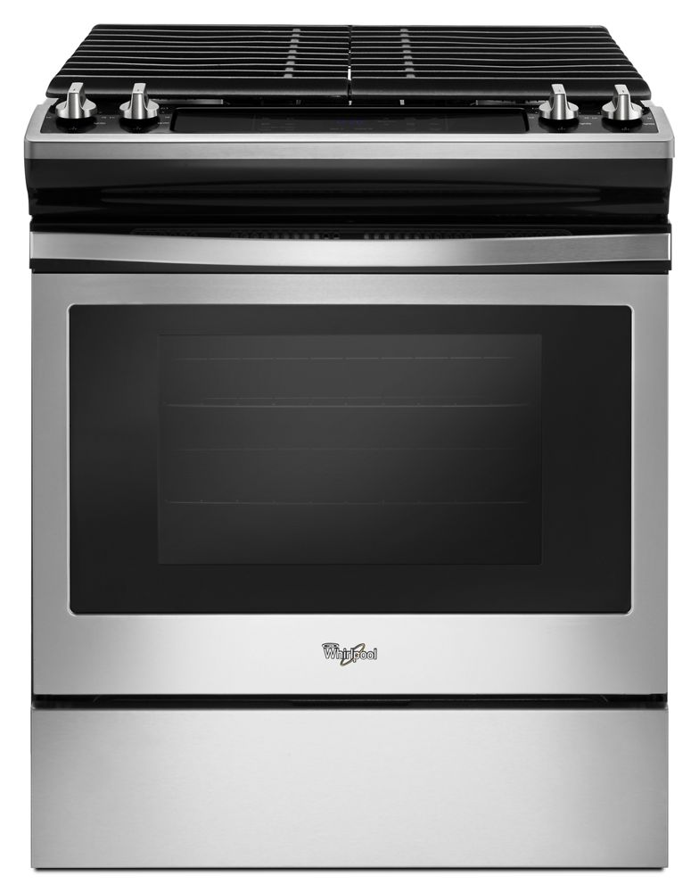 5.0 cu. ft. Front Control Gas Range with Cast-Iron Grates  Black-on-Stainless