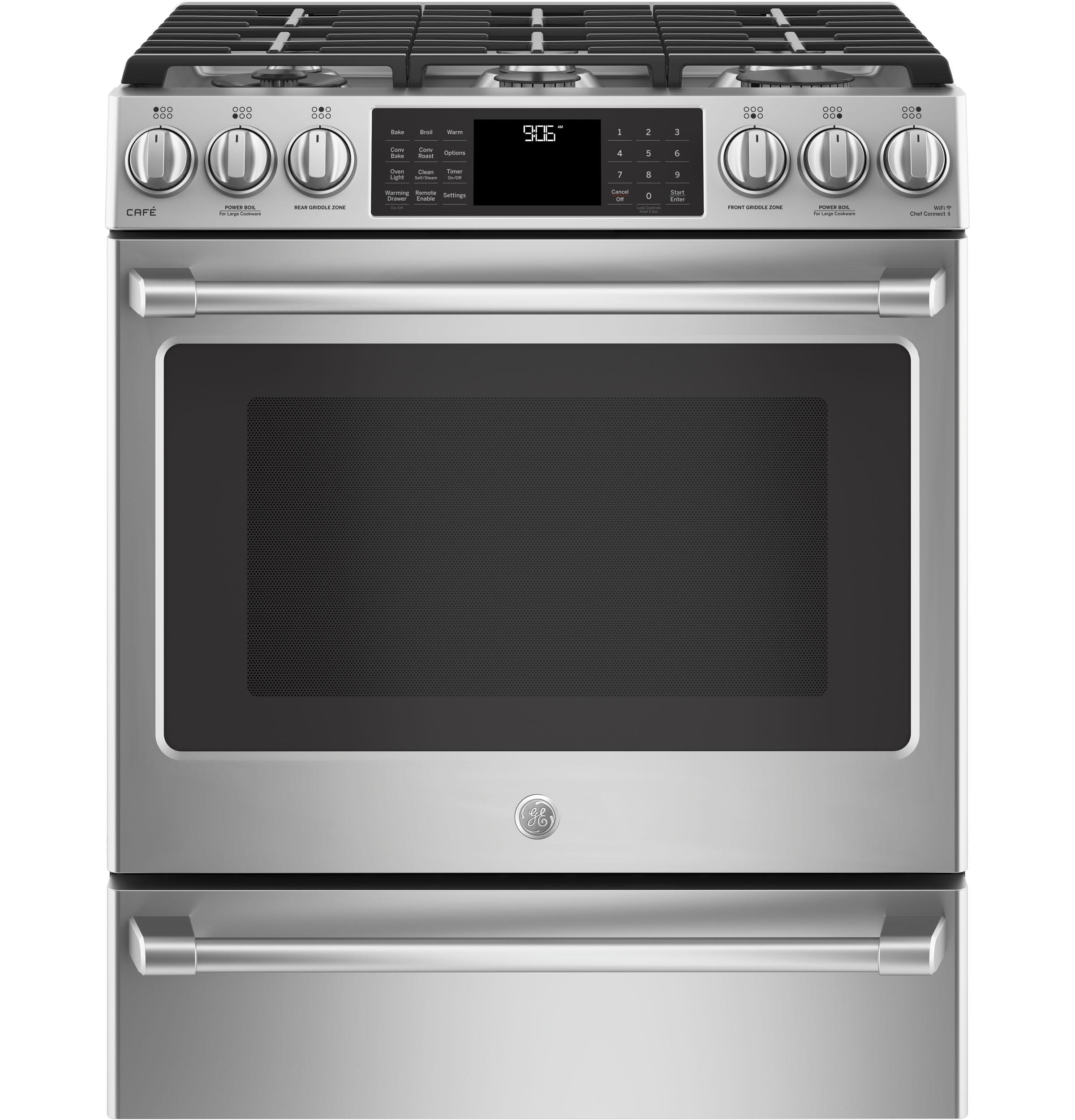 """GE Cafe(TM) Series 30"""" Slide-In Front Control Range with Warming Drawer  Stainless Steel"""