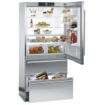 Liebherr36'' Counter Depth Bottom Mount Refrigerator, 20 Cu. Ft. Capacity, Energy Star Qualified, SuperCool, FrostSafe System,  Double Freezer Drawers, Glass Shelves, Deli Drawer, LED Lights - Stainless Steel Right Hinge