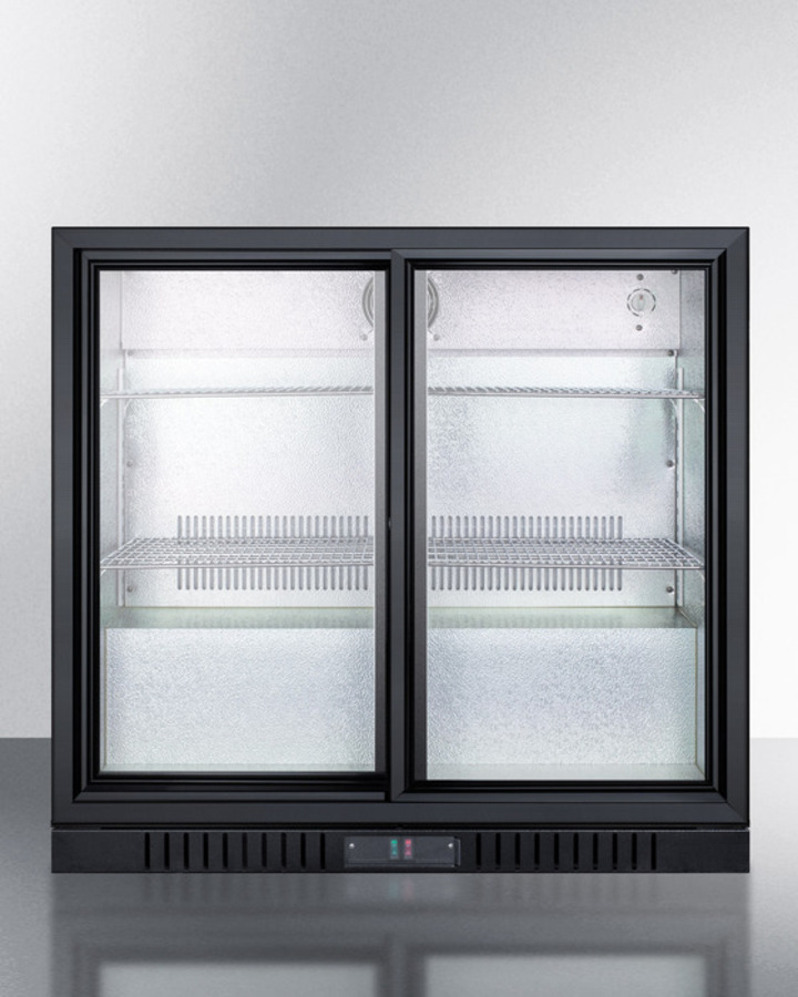 Commercial Back Bar Beverage Center for Freestanding Use, With Sliding Glass Doors and Black Cabinet