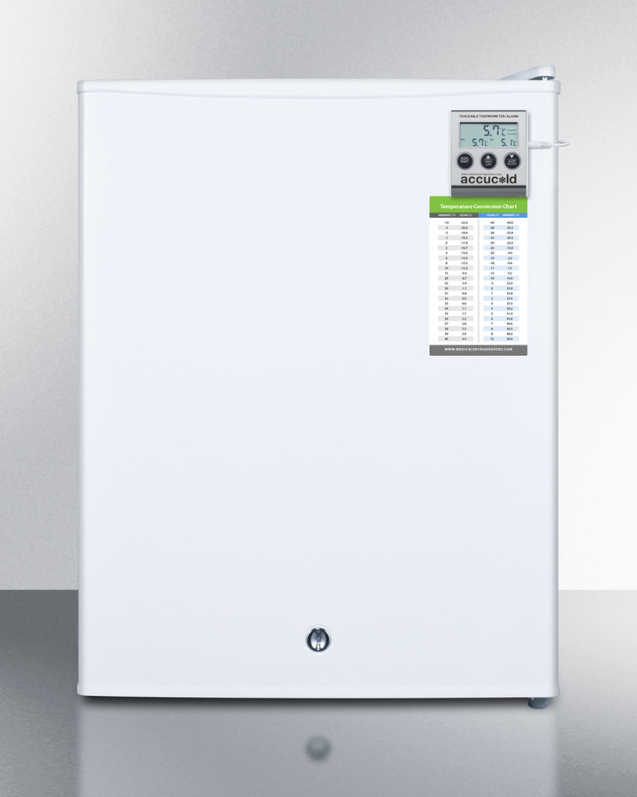 Compact All-refrigerator for Medical Applications, With Internal Fan, Temperature Alarm With External Display, and Lock; Replaces Ff28lmed