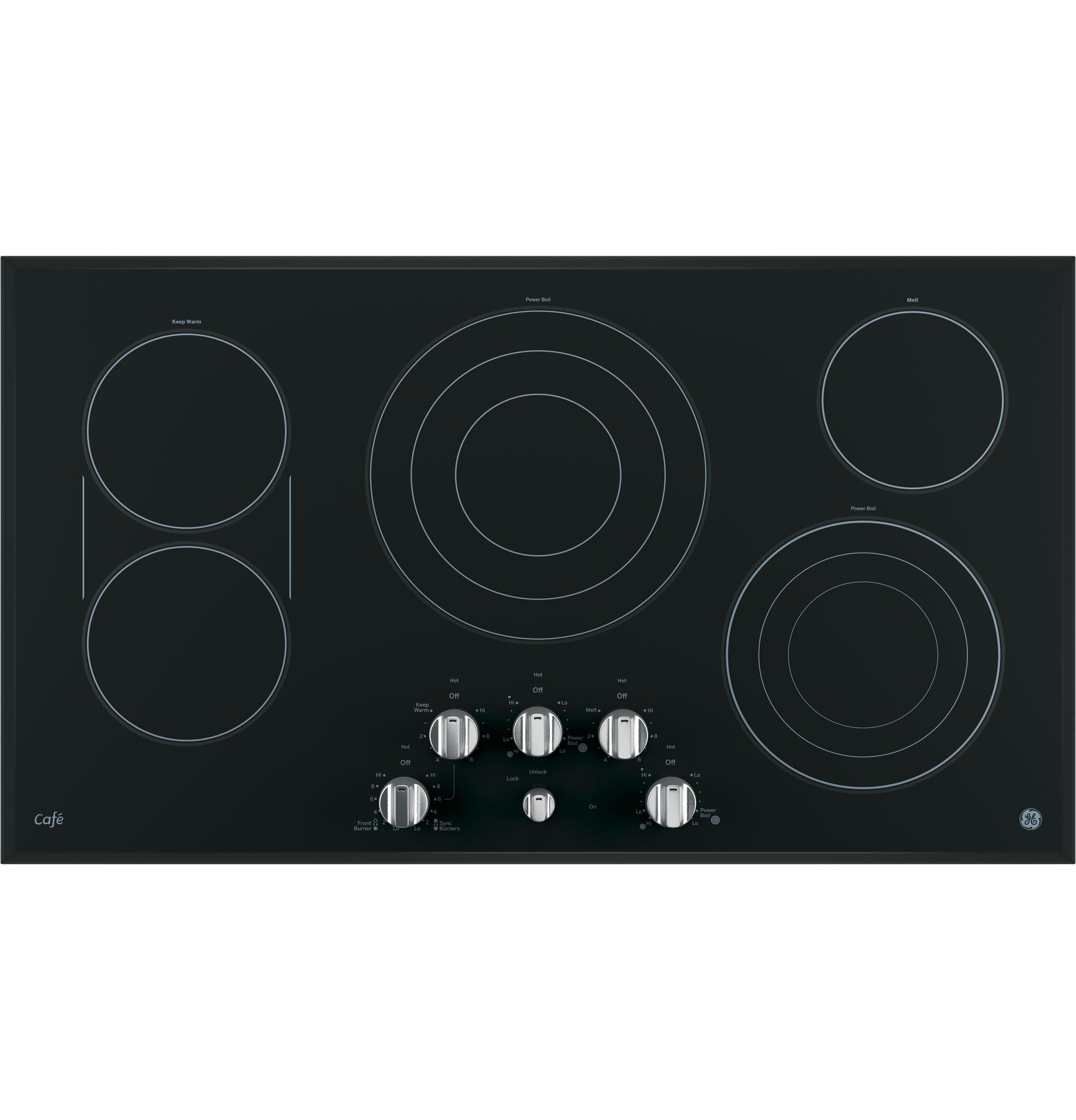 "GE Cafe(TM) Series 36"" Built-In Knob Control Electric Cooktop