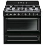 SmegSmeg Free-standing Dual Fuel Cavity &quotVictoria&quot Range Approx. 36&quot Stainless steel - Glossy Black Enamel