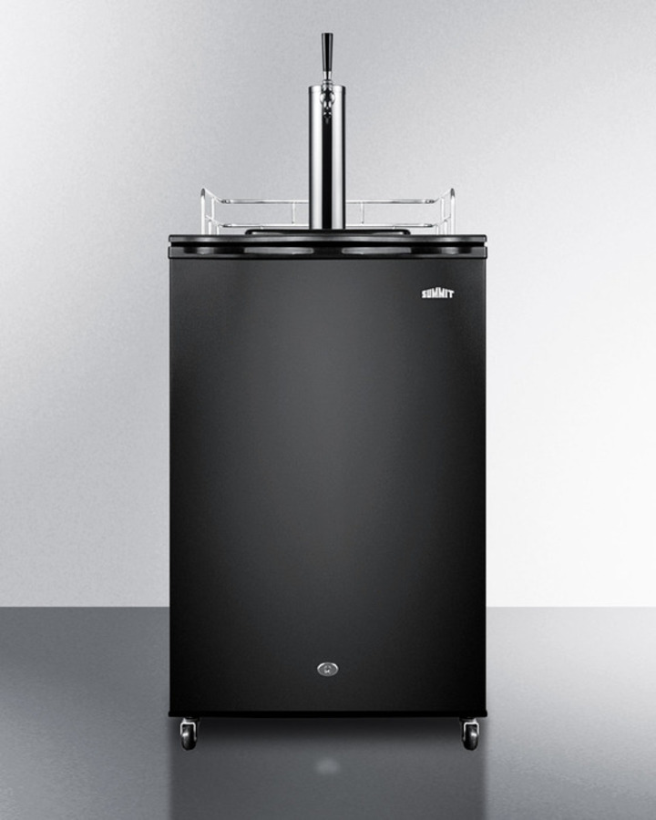 Freestanding Wine Keg Dispenser With Digital Thermostat, Complete Tap Kit, Lock, and Black Exterior Finish\n