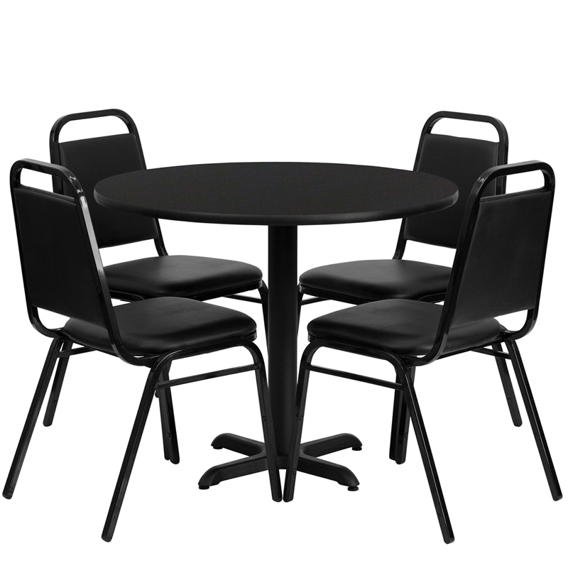 36'' Round Black Laminate Table Set with 4 Black Trapezoidal Back Banquet Chairs