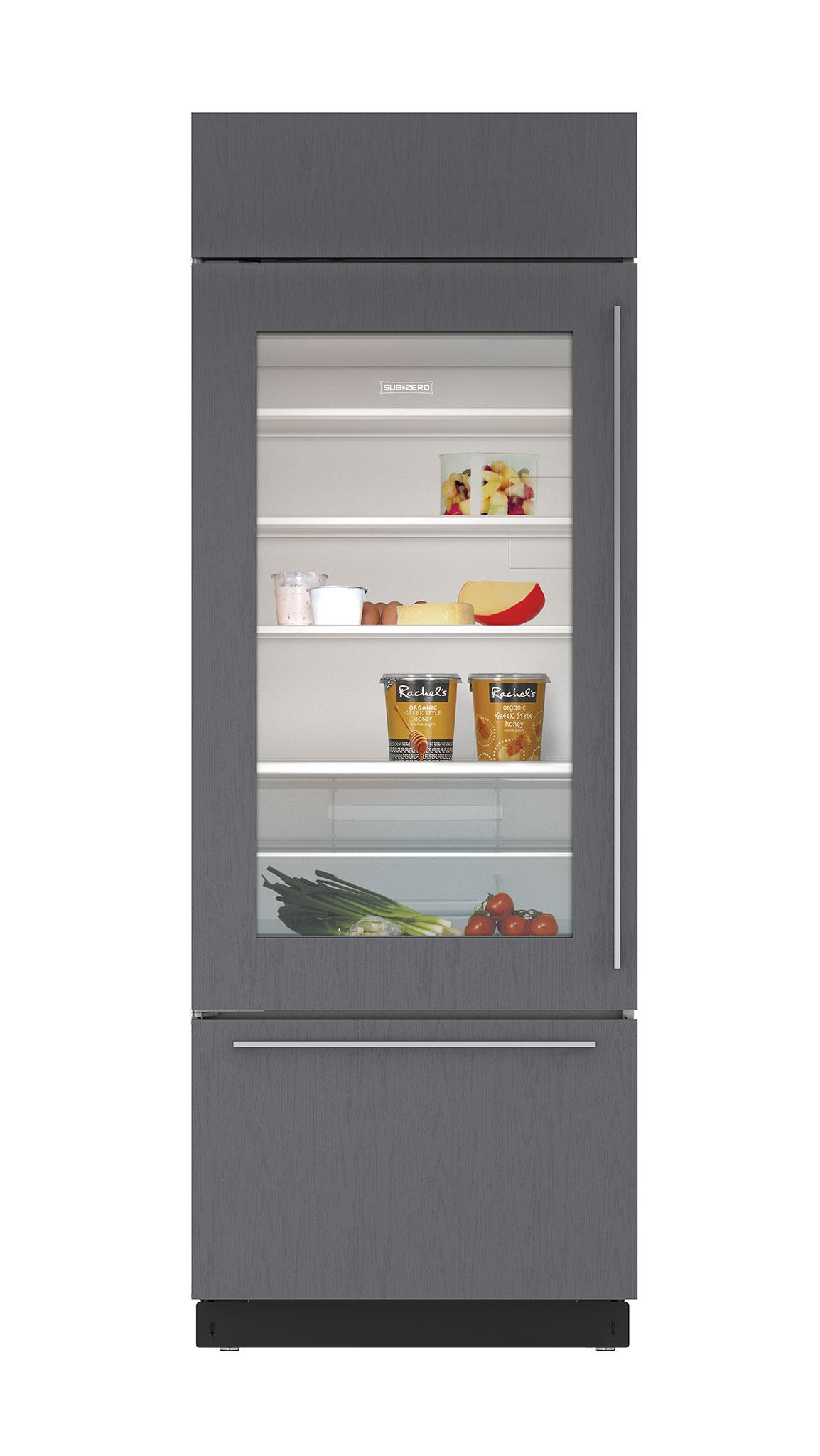 Sub zero 30 built in over and under glass door refrigerator freezer panel ready bi30ugorh - Glass door refrigerator freezer ...