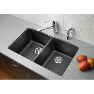 440183&nbspBlanco&nbspBlanco Diamond Equal Double Bowl Silgranit II (Um) - Metallic Gray