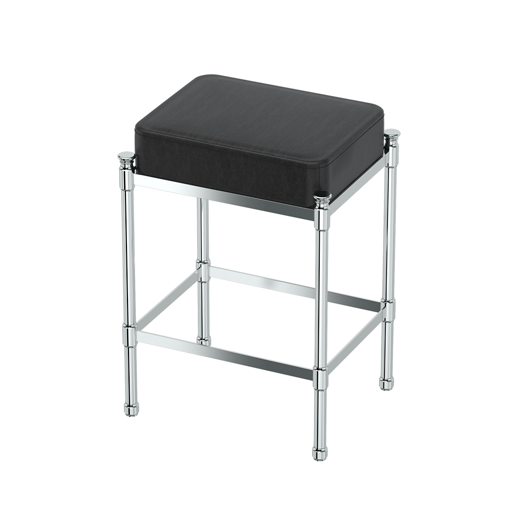 Rectangle Vanity Stool in Chrome