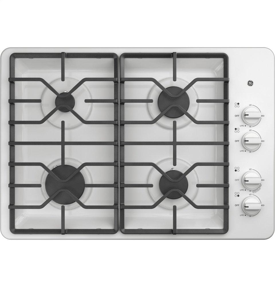 """GE(R) 30"""" Built-In Gas Cooktop  White"""