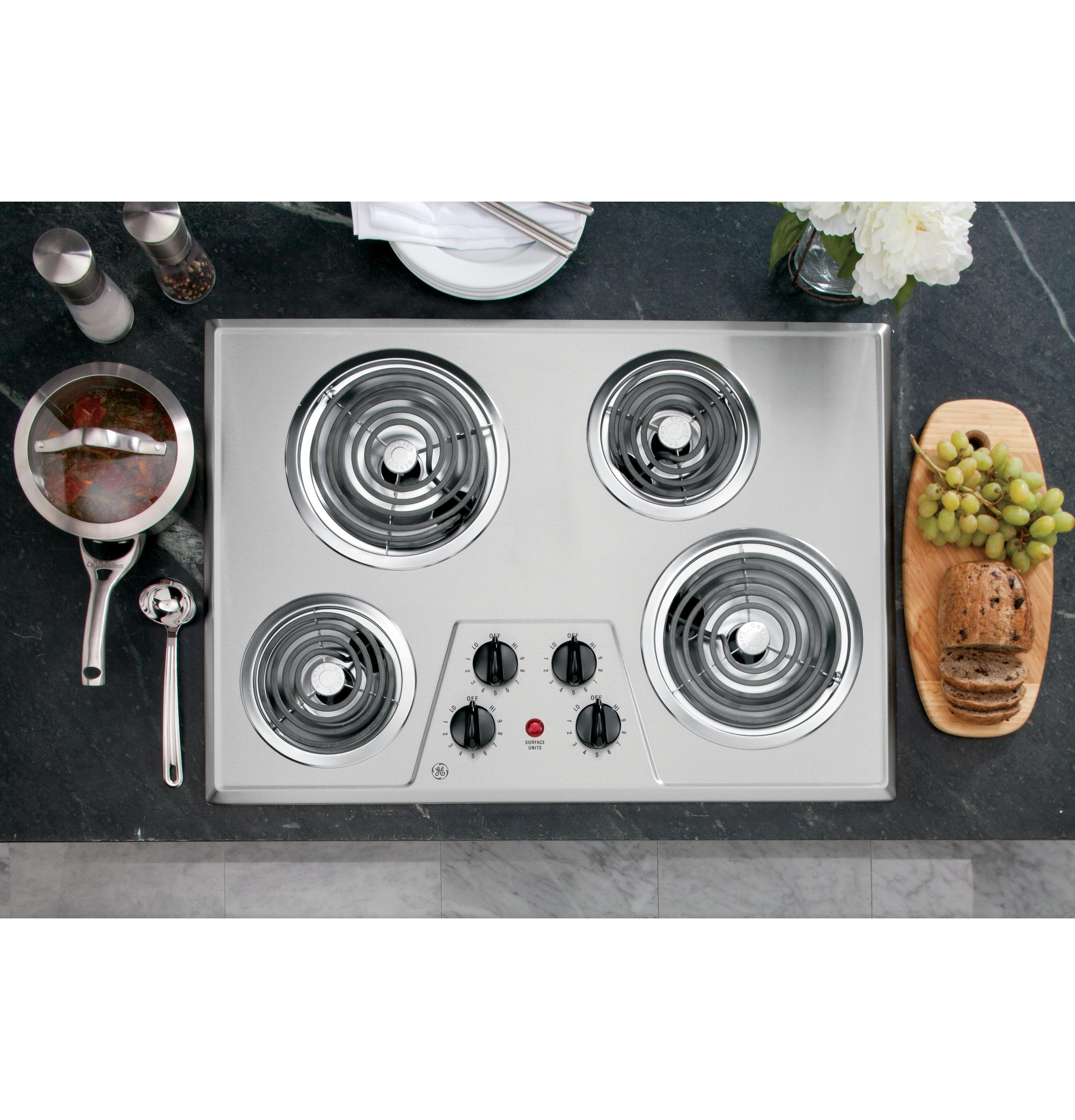 """GE(R) 30"""" Built-In Electric Cooktop  Stainless Steel"""