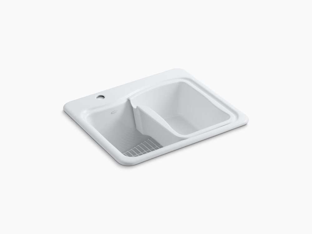 White Top Mount Utility Sink With Single Faucet Hole On Deck On Left Side