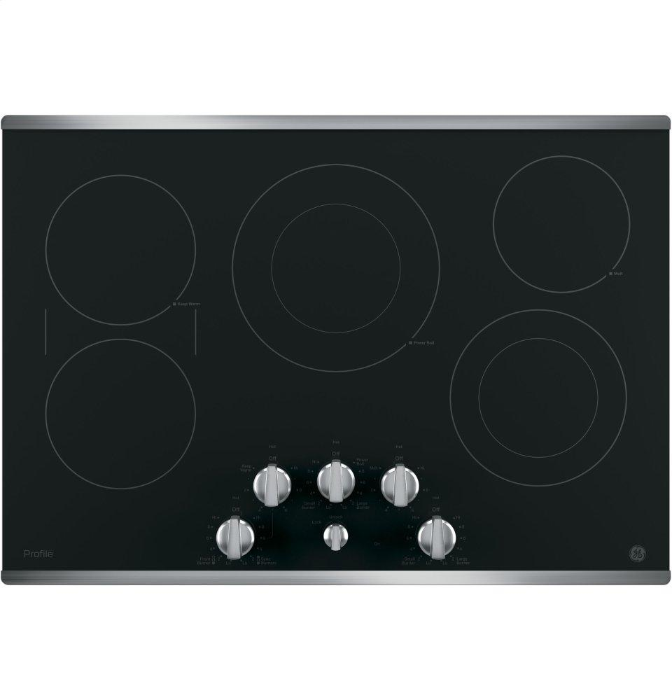 """GE Profile(TM) Series 30"""" Built-In Knob Control Electric Cooktop  Stainless Steel on Black"""
