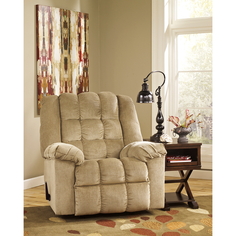 Signature Design by Ashley Ludden Rocker Recliner in Sand Twill