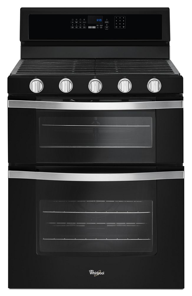 6.0 Cu. Ft. Gas Double Oven Range with EZ-2-Lift Hinged Grates  Black Ice