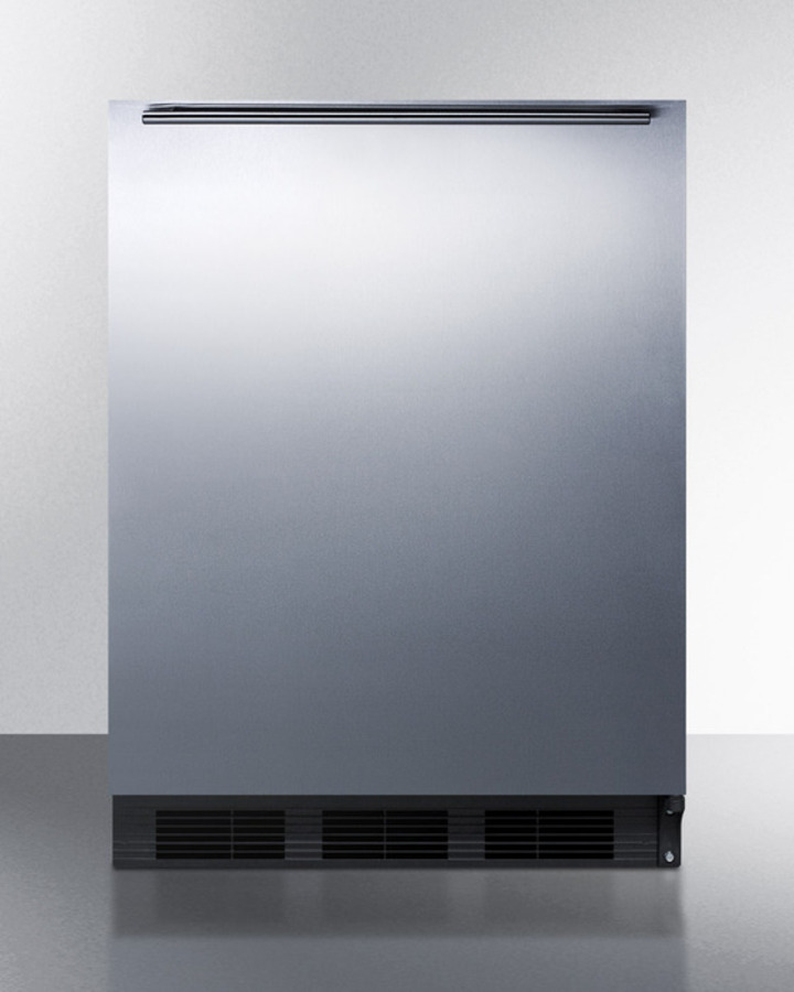 Commercially Listed Built-in Undercounter All-refrigerator for General Purpose Use, Autom Defrost W/ss Wrapped Door, Horizontal Handle, and Black Cabinet