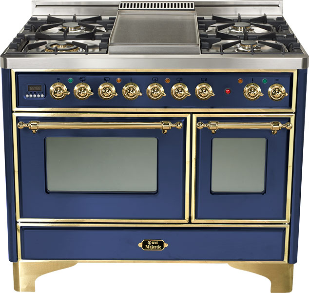 "Midnight Blue 40"" French Top Majestic Techno Dual Fuel Range