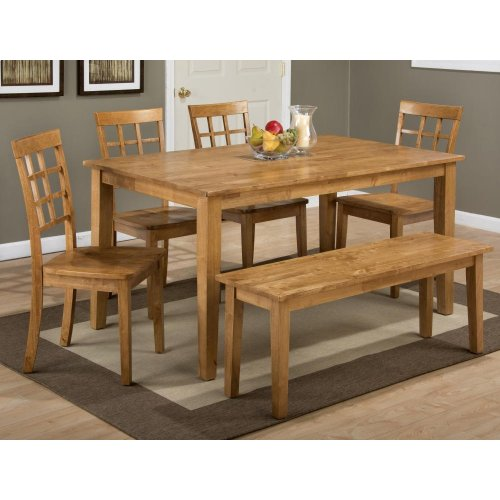 Simplicity Honey Rectangle Dining Table With Six Grid Back Chairs