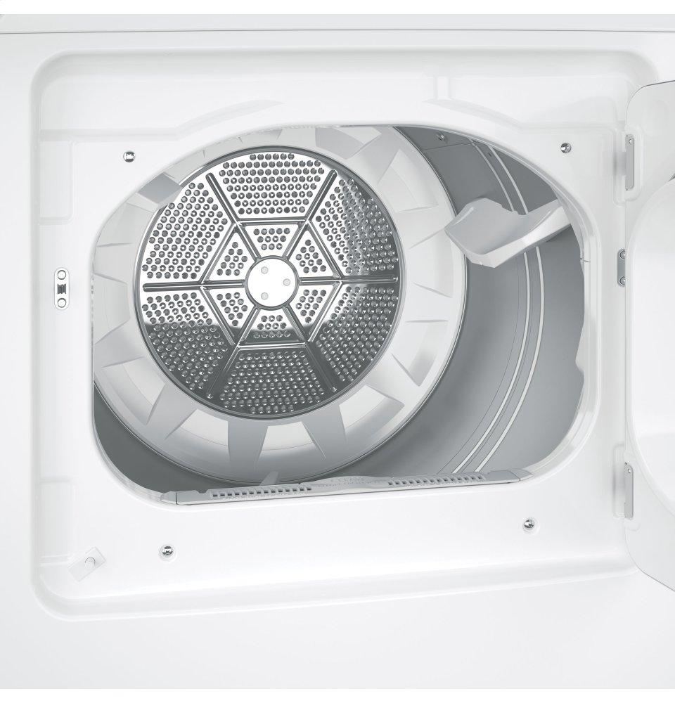 GE(R) 7.4 cu. ft. capacity aluminized alloy drum gas dryer with HE Sensor Dry  White on White with Silver Backsplash