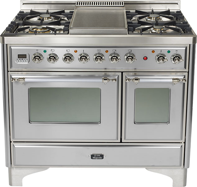 """Stainless 40"""" French Top Majestic Techno Dual Fuel Range  Stainless"""