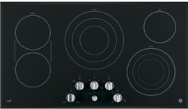 """GE Cafe 36"""" Electric Cooktop with Infinite Knob Control  Black on Stainless"""