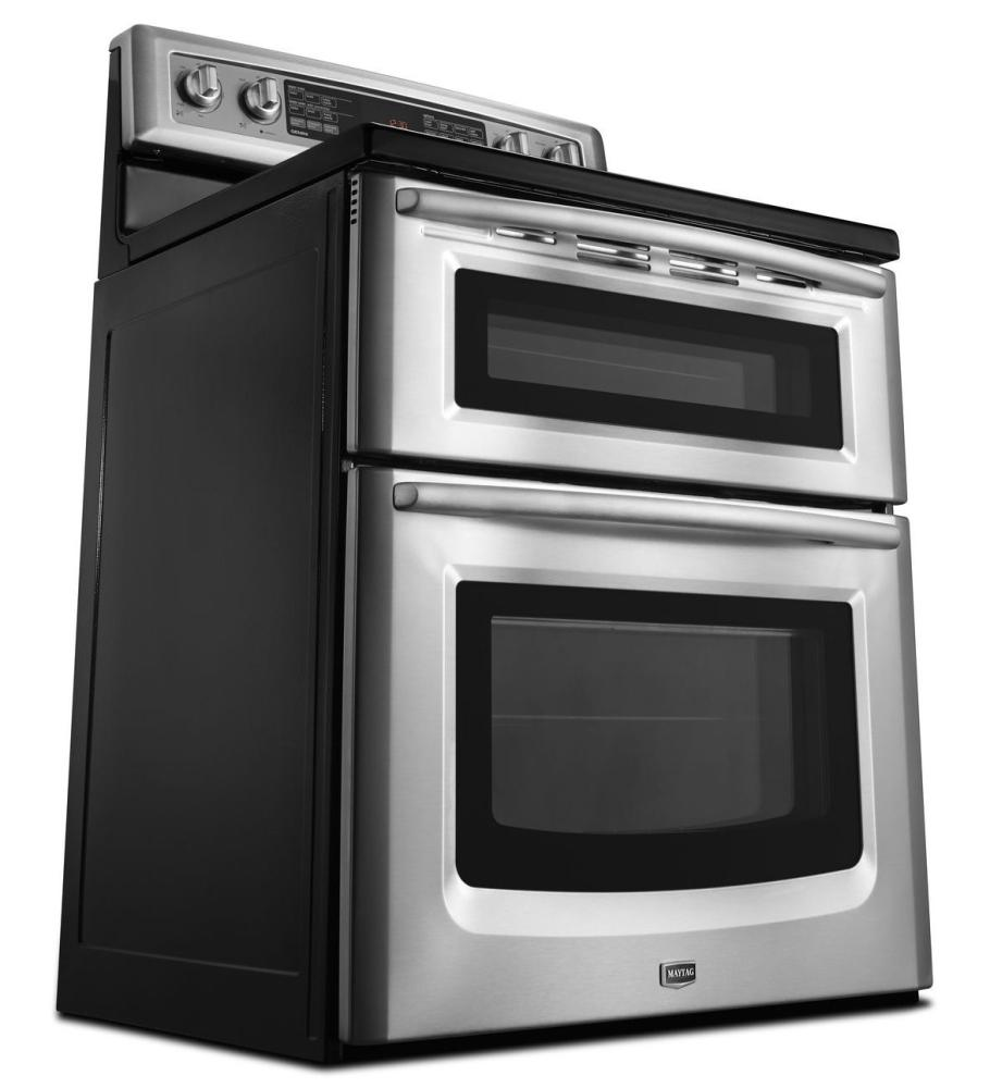 Met8776bb maytag black maytag r 6 7 cu ft capacity double oven electric range with even air - Maytag electric double oven range ...