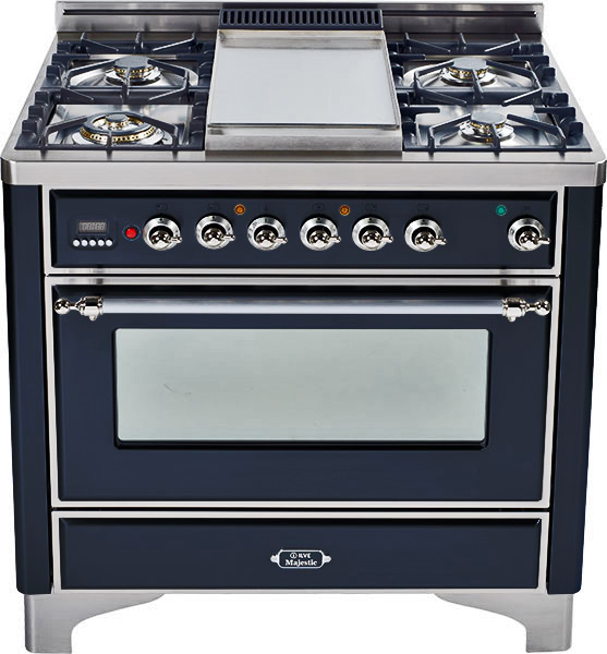 Gloss Black with Chrome trim - Majestic 36-inch Range with Griddle  Gloss Black / Chrome