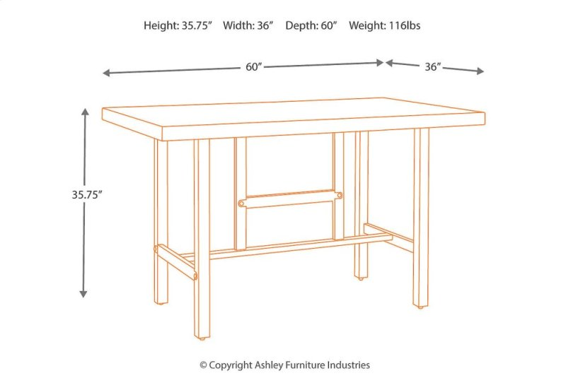 Hidden Additional RECT Dining Room Counter Table